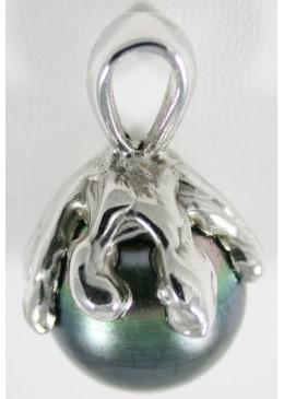 Pendentif en Or blanc 18 carats 750/1000 ,perle de tahiti ronde 14 mm Qualité A