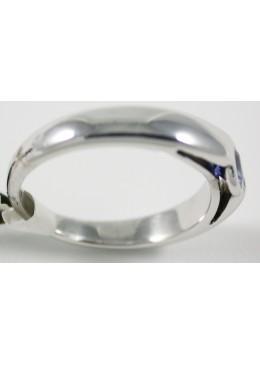 Solitaire Or blanc 18 carats 750/1000,rhodié ,serti d'un saphir de ceylan