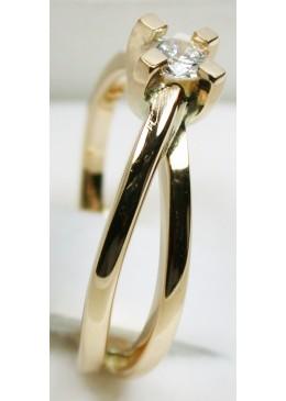 Solitaire or jaune 18 carats et diamant 0.20 carats G/Vs1