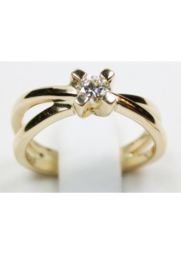 Solitaire or jaune 18 carats et diamant 0.20 carats G/Vs1