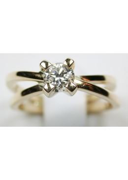 Solitaire or jaune 18 carats et diamant de 0.52 carats G/Vs1