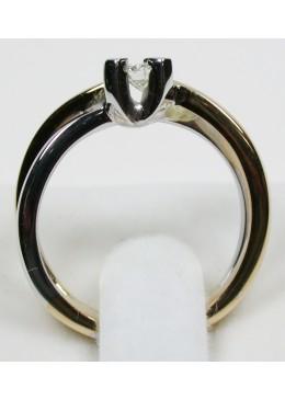 Solitaire bicolore 18 carats et diamant de 0,20 carats G/Vs1
