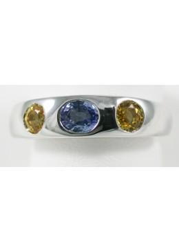 Bague Jonc Or blanc 18 carats 750/1000 serti de saphir de ceylan et saphir jaune