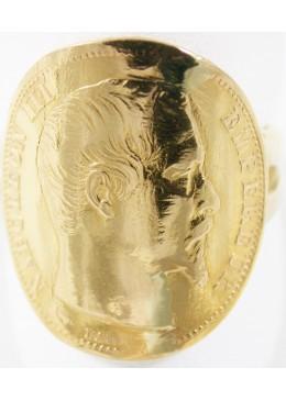 Bague Pièce Napoléon 20 Francs Or de 1859 sur Or jaune 18 carats