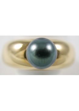 Bague en Or jaune 18 carats 750/1000 et perle de tahiti ronde 8.5 mm Qualité A